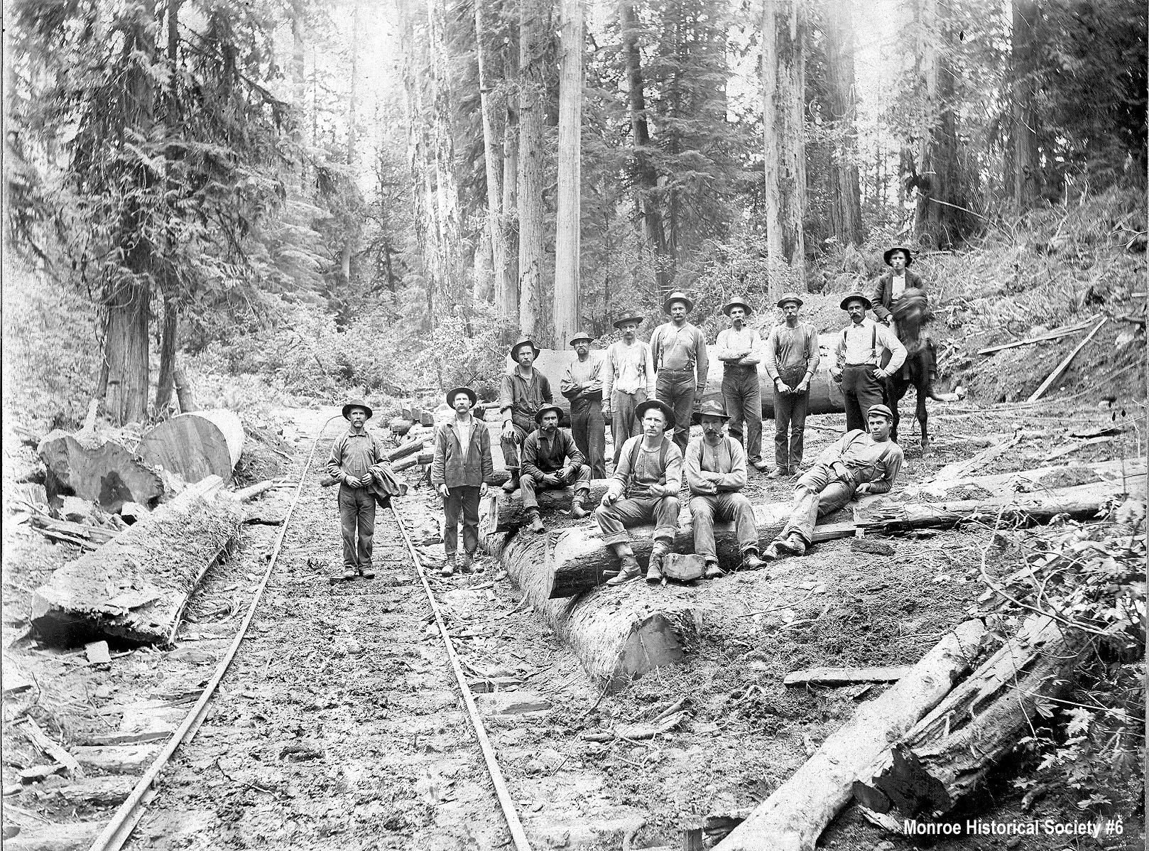 0006 – Loggers on railroad tracks