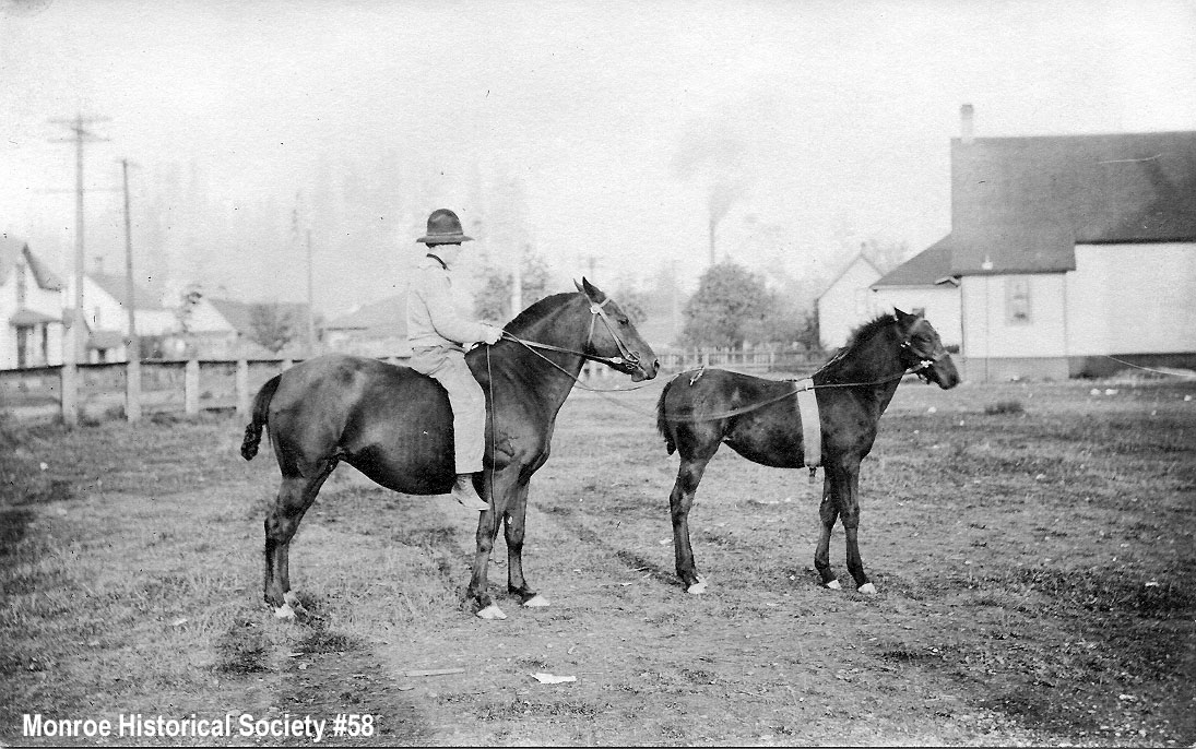 0058 – Homer Dennis on a horse and training colt